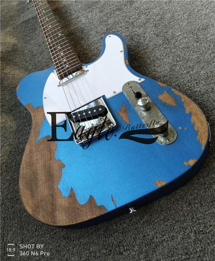 Eagle. Butterfly, Electric Guitar Bass Customization Shop, Metal Blue Electric Guitar Tele Handmade Old Guitar in stock