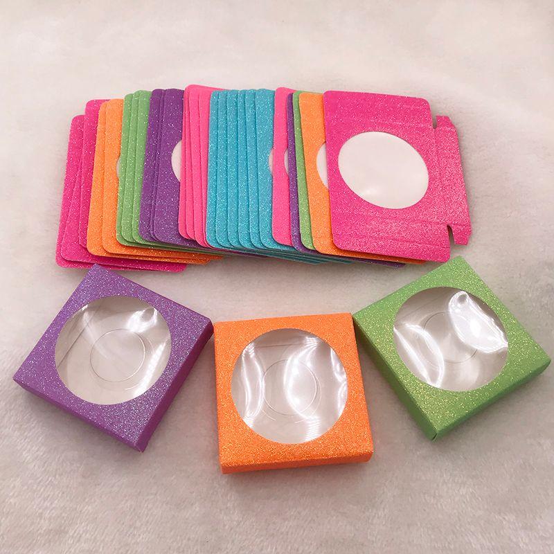 Vizon Lash Ambalaj Glitter Kağıt Kirpikler Vaka carboard kutusu Yanlış Eyelashes Boş Kare Kirpikler Kutular Çok renkli Özel Paketleme