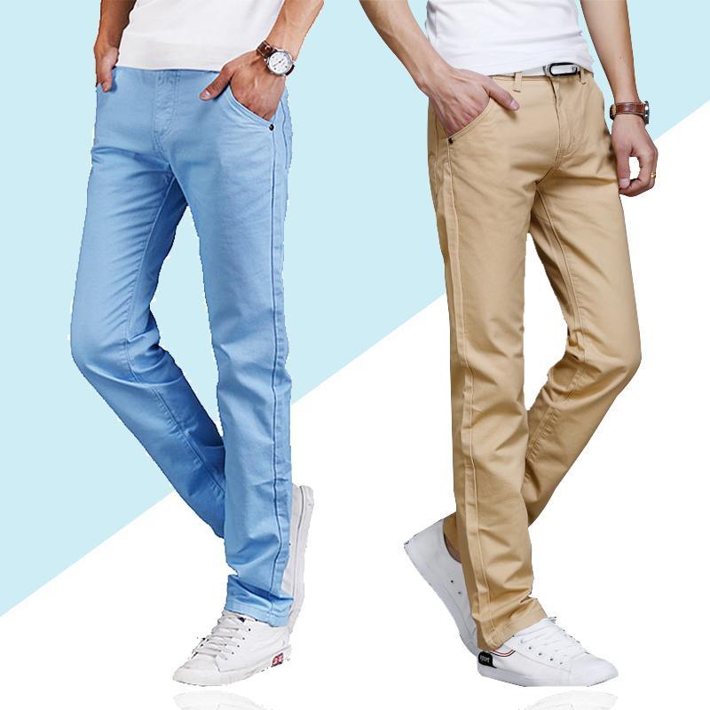 2019new Primavera-Verão New Pants Casual Homens Algodão Slim Fit Chinos Moda Calças Masculino Marca Vestuário Plus Size 28-38
