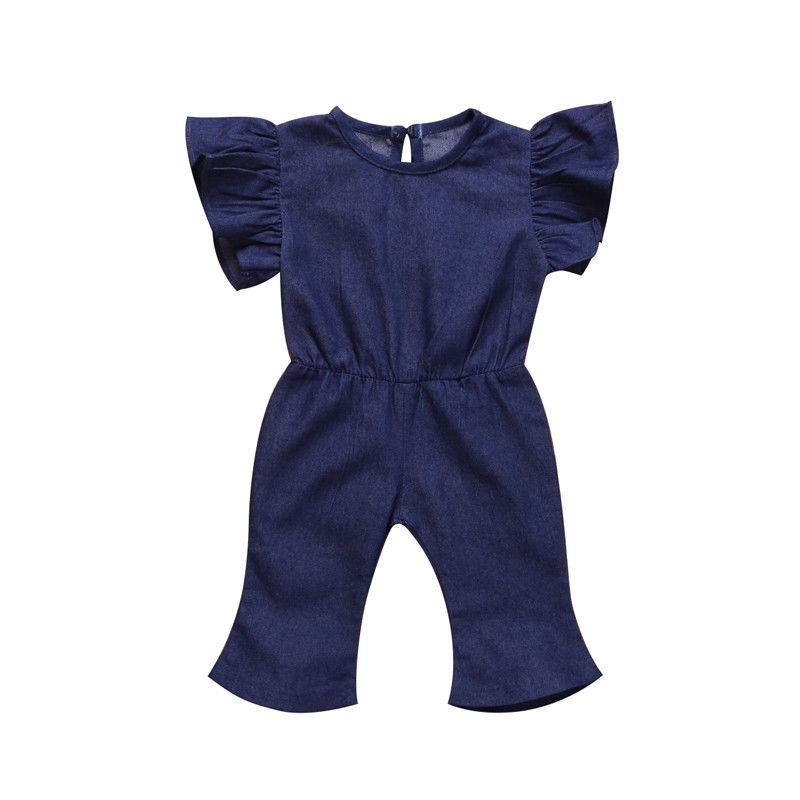 2019 new cute kid denim rompers Fashion Children Girls Kids short sleeve Denim Romper Jumpsuit Summer kid Playsuit Casual 1-7Y