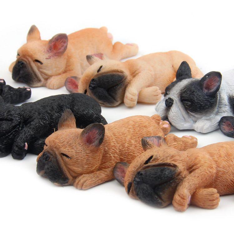 4 قطعة / المجموعة الفرنسية البلدغ أرقام نموذج اللعب-لطيف التماثيل الكلب محاكاة لعبة للأطفال الهدايا سيارة مكتب ديكور المنزل