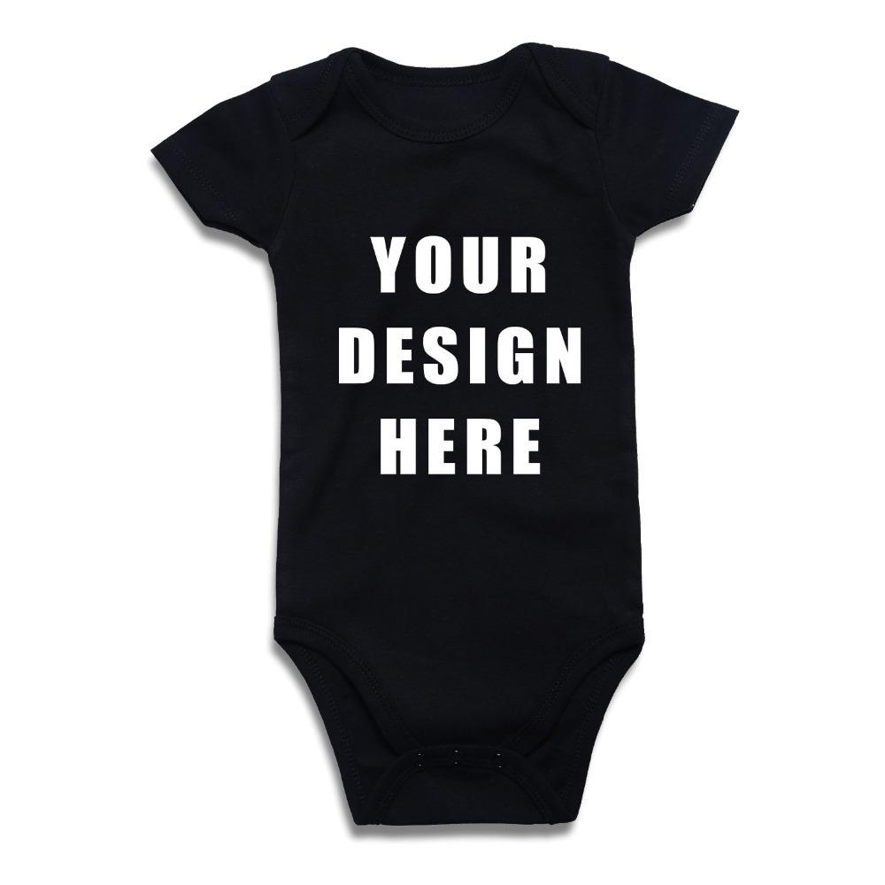 Newborn Baby Boy Girl Bodysuit Custom Printed One Piece Outfits Jumpsuit Cotton Children Clothing Solid Black White Red Clothes Y19061201