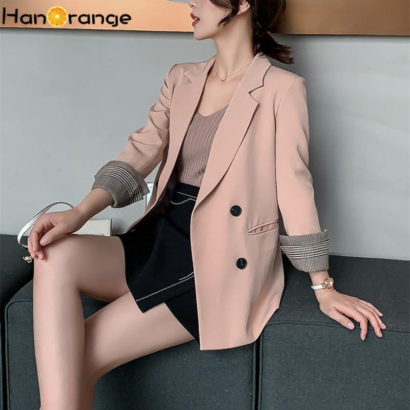 Casual Brasão Retro Double Breasted Longo Blazer Jacket Outono 2020 Primavera cor sólida Mulheres Moda