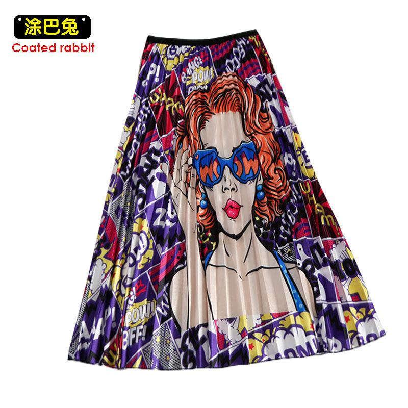 Cr 2019 Spring New-coming Europen Cartoon Pattern High Elasticity Pleated Skirt High Street Style A-line Mid-calf Christmas Y190428