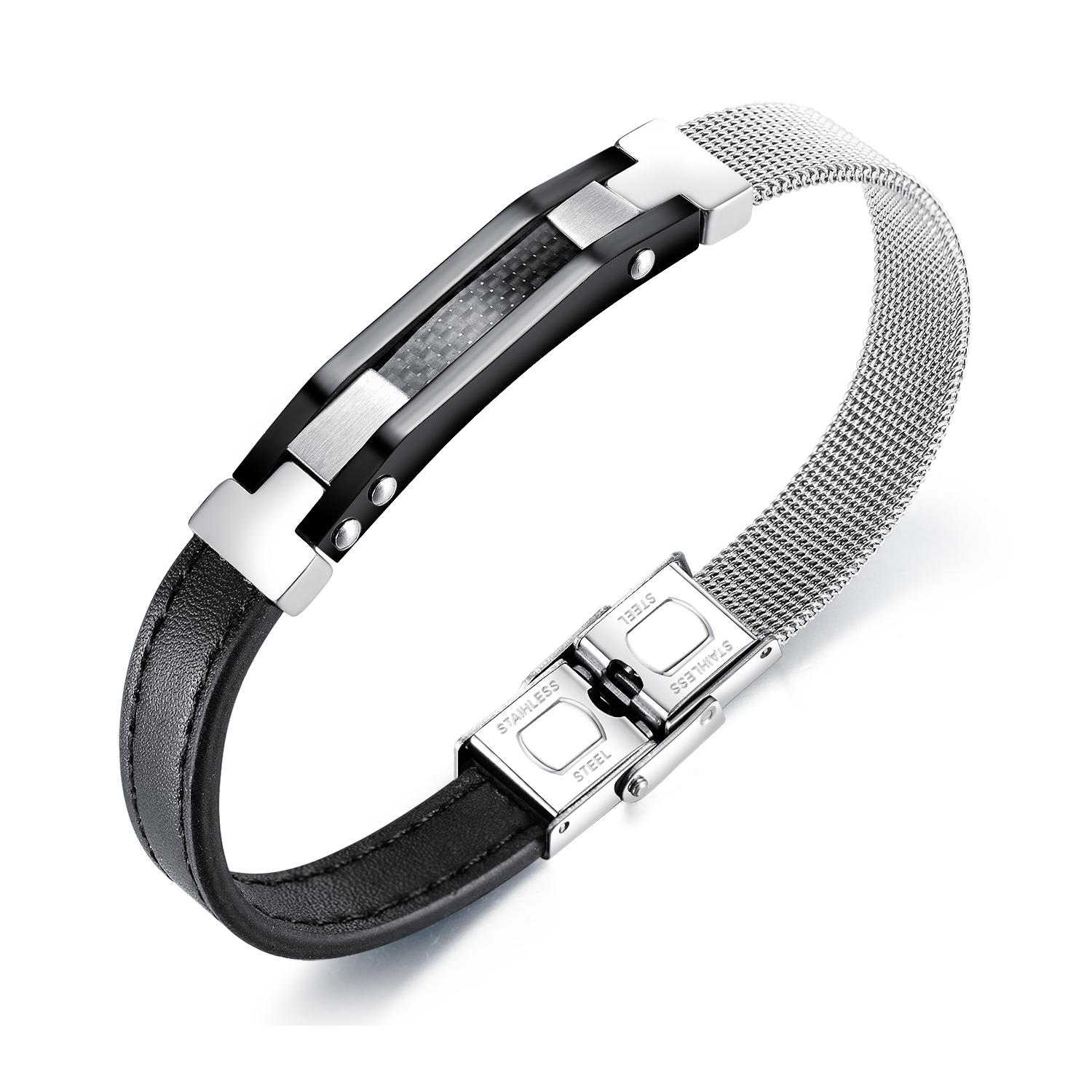mens for bracelets black knit stainless steel bracelets PU leather Titanium hand chain mens bracelets jewelry for gifts