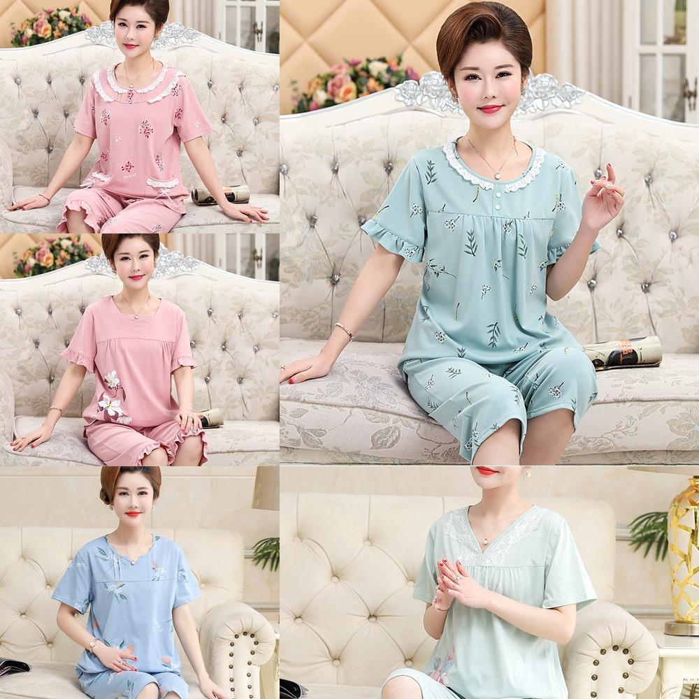 лето хлопка 917jf женщин с короткими рукавами Капри потерять большой размер домашней одежды для теща домой пижамы пижамы тонкого среднего возраста