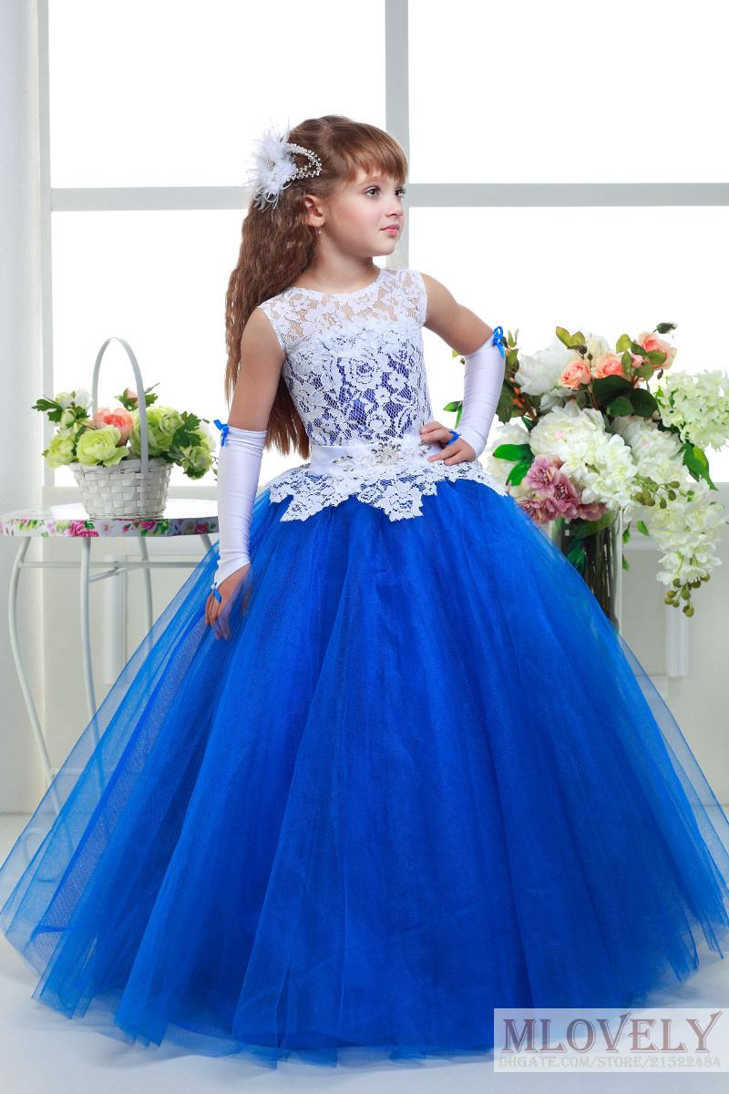 Royal Blue Ball Gown Girls Pageant Dresses Lace Tulle Dress Ball Gowns For Girls Wedding Dresses Red Custom Made 5 14 Year Dresses For Teenagers First Holy Communion Dresses From Mlovely 60 31 Dhgate Com