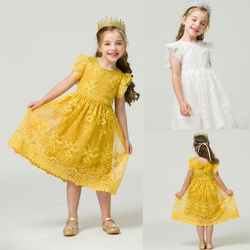 5 8 Yıl Kız Elbise 2020 Yaz Zarif Çocuklar Elbise Kız Dantel Çiçek Prenses Doğum Günü Partisi Çocuk Giyim 3