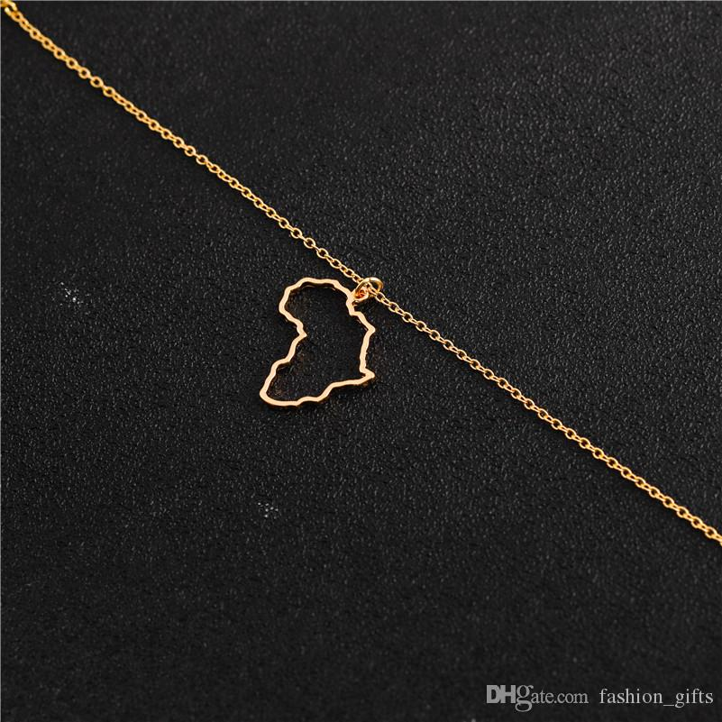 hollow Africa Map Necklace Egypt South Africa Kenya Nigeria world Map Africa Pendant Necklace Jewelry Hometown Lucky Clavicle Necklace