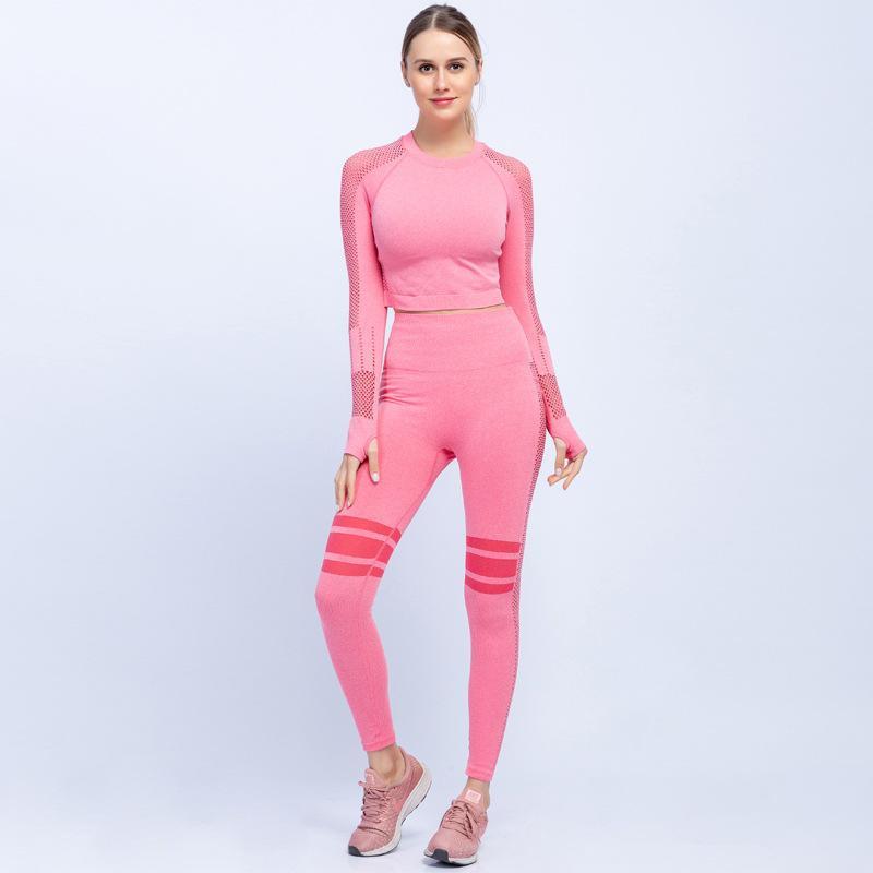 2020 Sport-beiläufige Mesh-Stitching Nahtlose Stretch-Blazer und Hosen Damen Anzug