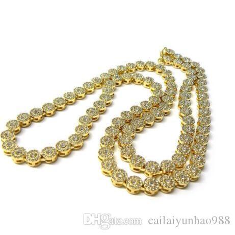 Banhado A ouro colar de corrente de flor sol heavy lab diamante grande grande robusto meninos homem