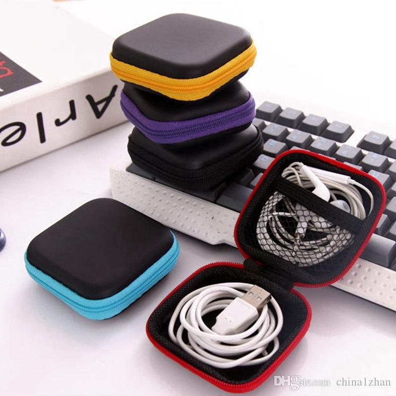سماعة حالة PU جلد الأذن الحقيبة البسيطة زيبر سماعة المربع الامني USB كابل منظم الململة سبينر التخزين أكياس 5 ألوان DHW1681