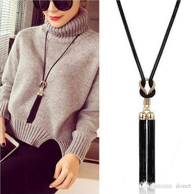 Black Women Necklaces Exquisite Chain Tassel Sweater Long Chain Necklace Delicate jewelry
