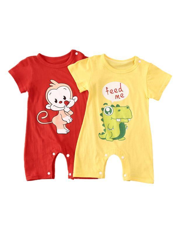 الطفل الوليد بنات بوي مجموعة ملابس رومبير السراويل القطن لطيف لينة التمساح قرد مطبوعة وبذلة طفل كيد Playsuit (0-2Y)