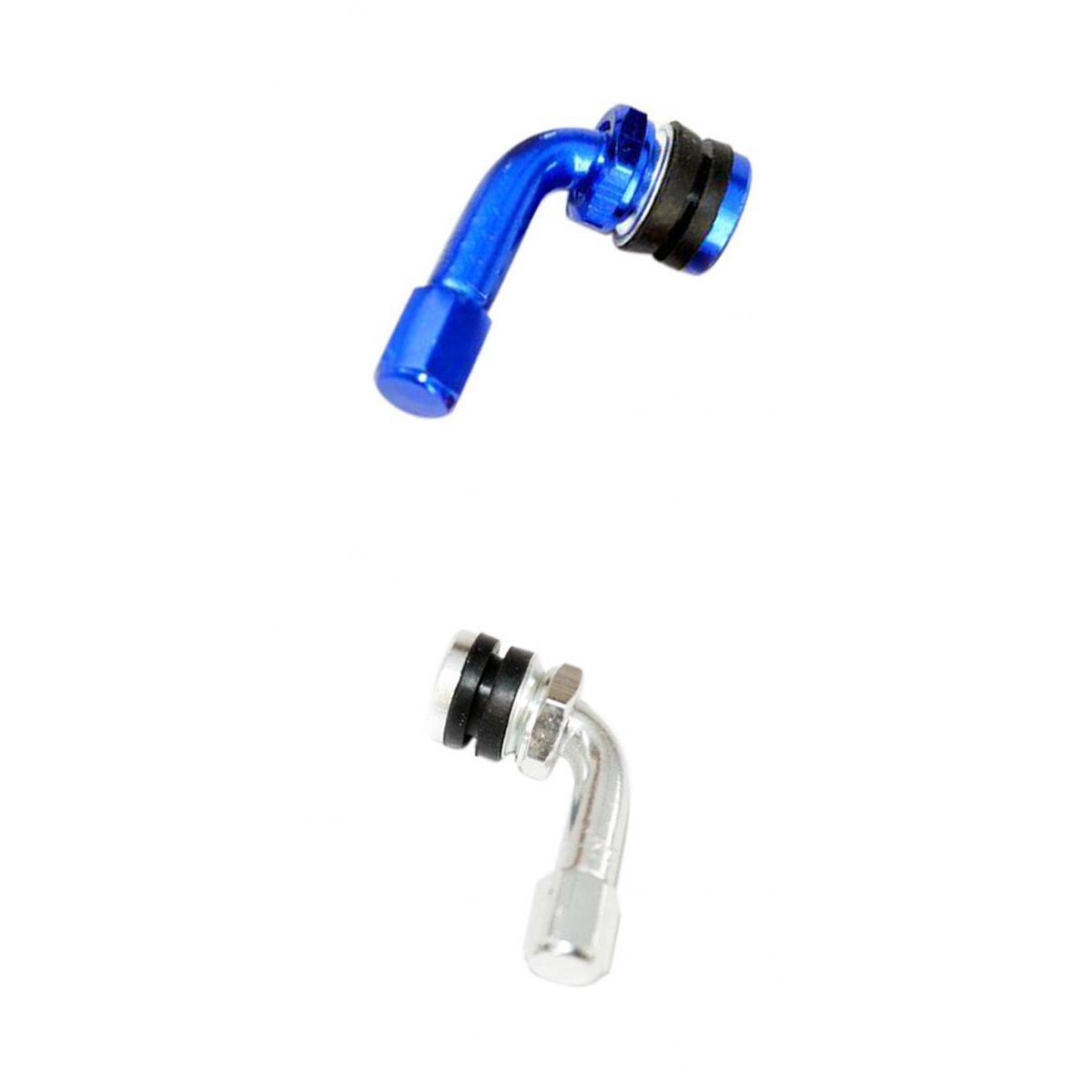 Aluminium CNC moto universel roue valves de pneus Stem air des pneus Cap 90 degrés Bleu / Argent
