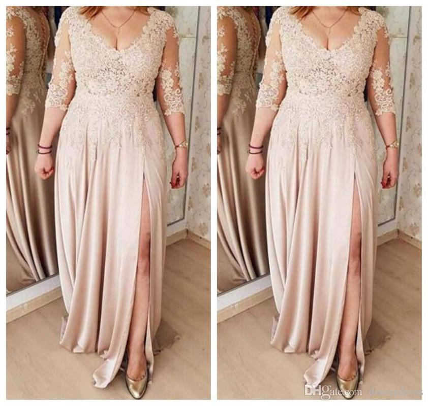 Plus Size Una linea madre della sposa abiti da Champagne chiffon maniche lunghe in pizzo Appliques sposo Madre abito da sera abiti