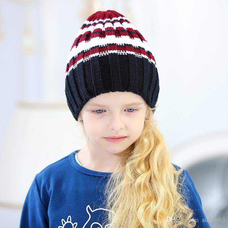 New Autumn Winter Kid Baby Girls Boys Hat Stripe Mixed Color Kids Knitted Beanies Skull Caps Children Warm Hats M202