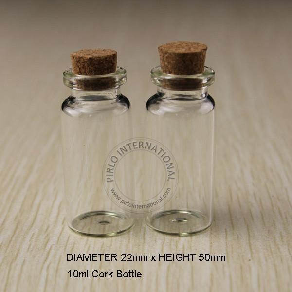 50pcs / lot 10ml Mini Bouteille en verre Fioles Jars Petits contenants Souhaitant Bouteille en verre avec bouchon Craft en liège pour la décoration de mariage