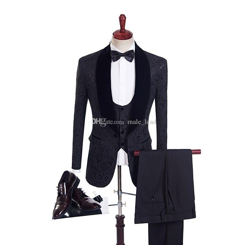 Красивый жаккардовый жених смокинги (куртка + галстук + жилет + брюки) Мужские костюмы на заказ формальный костюм для мужчин свадьба Bestmen Tuxedos дешево
