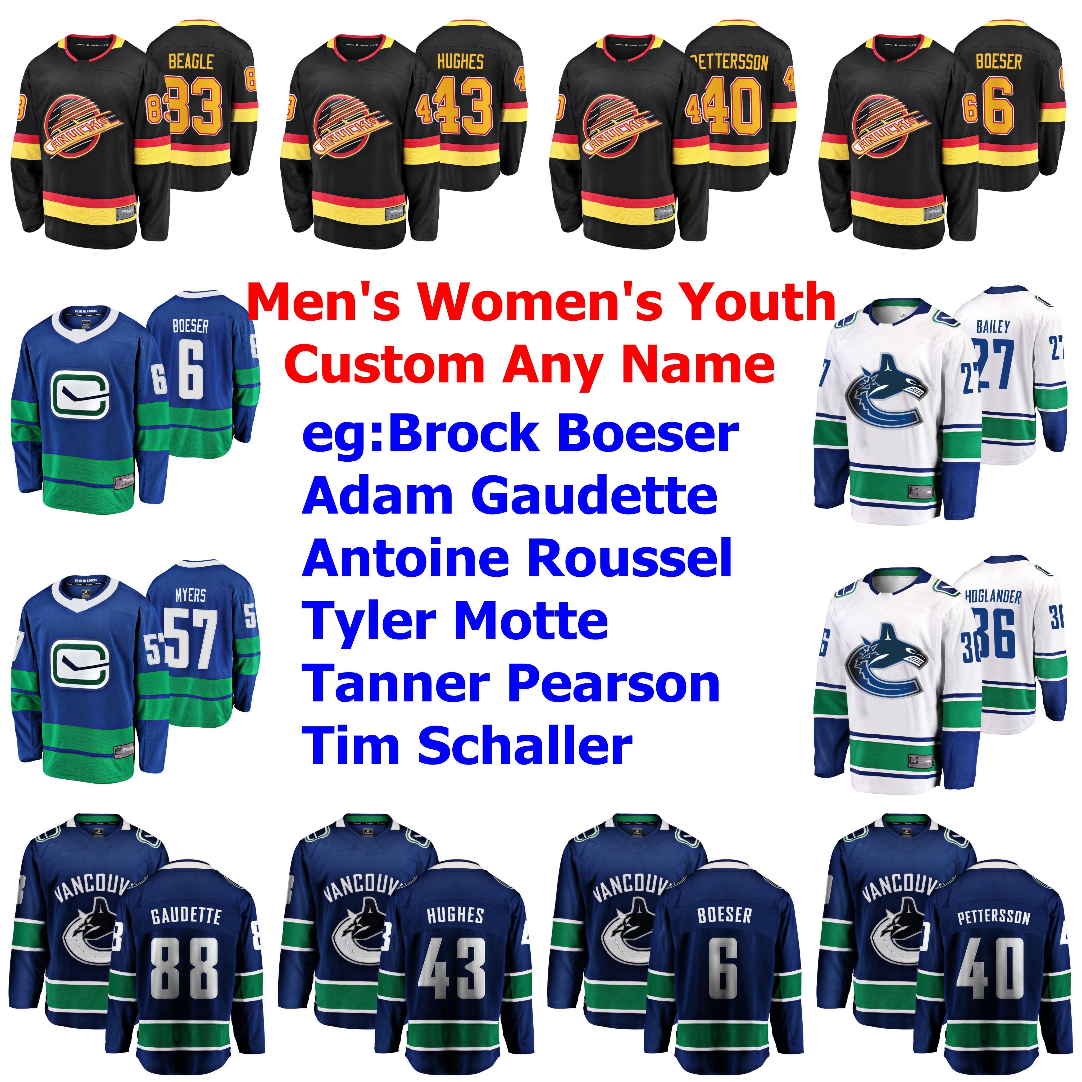 Hockey Vancouver Canucks maglie Brock Boeser Jersey Thatcher Demko Hughes Markström Pettersson Ice maglie Womens Personalizza cucita
