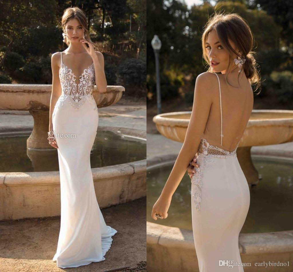 Sexy Berta Spaghetti Open Back Mermaid Wedding Dresses Cheap Vintage Lace Appliqued Bohemian Beach Boho Bridal Gown Plus Size