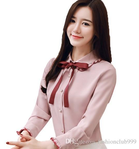 Nuovo arrivo vendita calda speciale moda coreana versione chiffon super fata arricciato farfallino bambola collare in pizzo elegante nobile signora top marea camicia