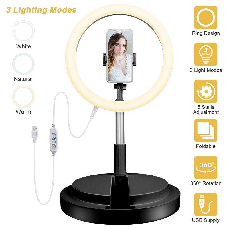 Selfie Luz del anillo con base redonda regulable flexible titular del teléfono para Transmisión en vivo / Maquillaje, UBeesize mini escritorio de cámara LED ringlight