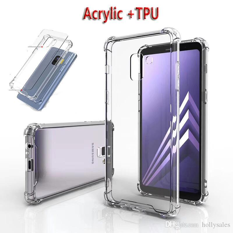 투명 한 아크릴 + TPU 케이스 범퍼 클리어 Shockproof 전화 케이스 새로운 아이폰 12 노트 20 S10 Plus A50 Huawei LG