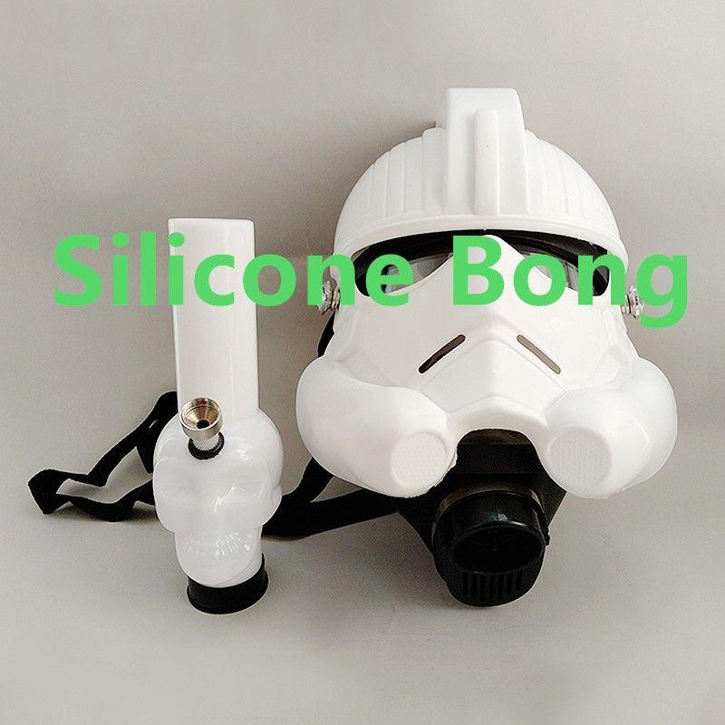 Силиконовая вода Bong с противогазом Акриловая трубка для курения Hookahn Suit Bongs
