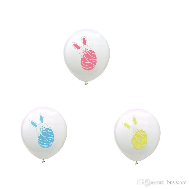 SICAK Satış 100pcs / lot Paskalya Günü Balon 12 inç 2.8g Karikatür Tavşan / Easter Egg Lateks Balon Festivali Parti Kutlama Dekorasyon
