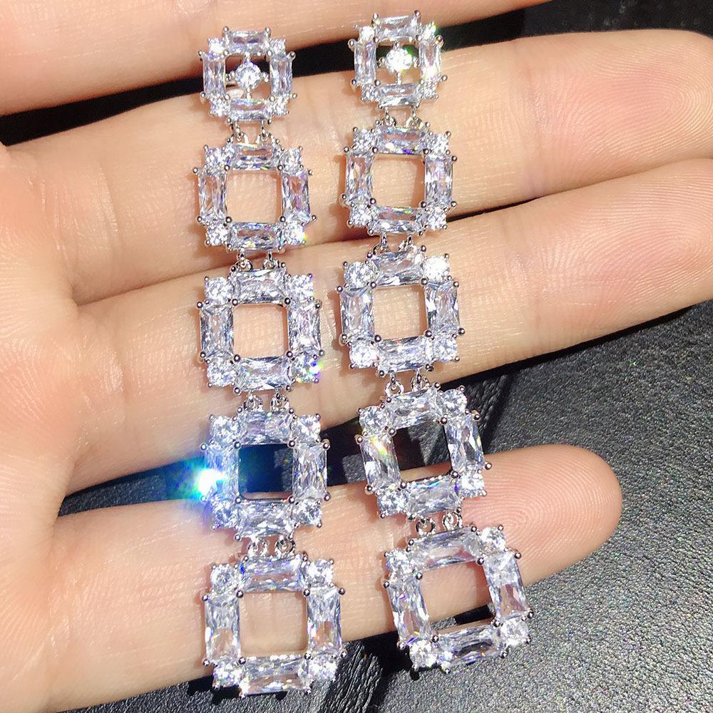 Роскошный панк Циркон долго болтаться 925 серебряные серьги падения белое золото смотреть цепь форма ювелирных изделий для женского юбилея