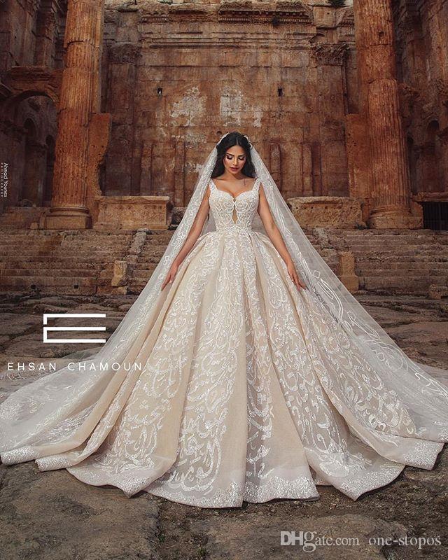 Eleagnt шампанского Спагетти кружева аппликация бальное платье свадебное платье Vintage Backless Plus Szie поезд стреловидности Bridal платье