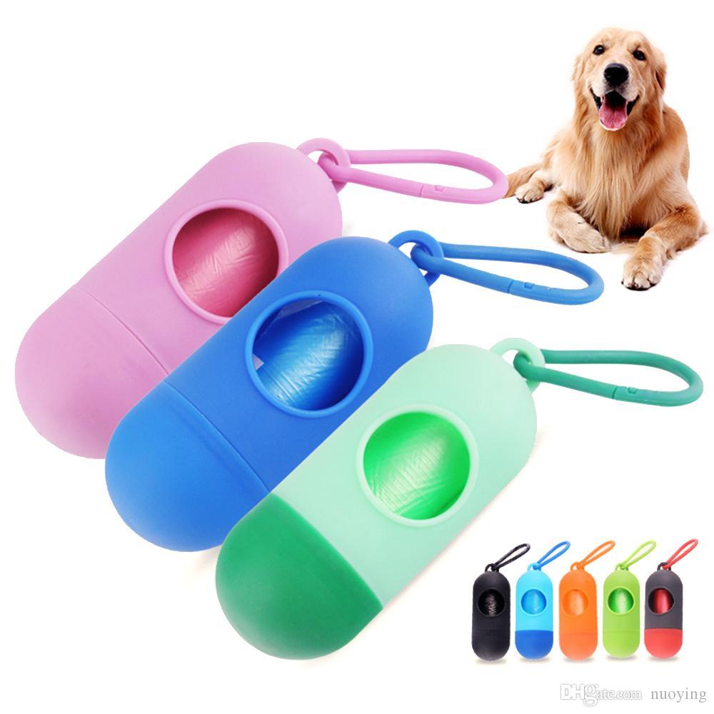 New Dog Pet sacos de lixo Limpo Dispenser Box Waste do cão Poop Bag com impressão Saco de Doggy Saco de lixo Lixo