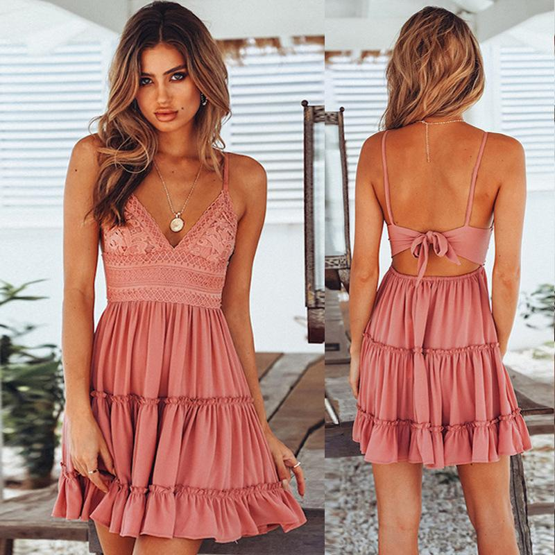 Solid Color Peplum Dress V Neck Backless Strappy Dresses Back Lace Bow Pleated Skirt Women Clothes Fashion Valentine Gift Drop Ship