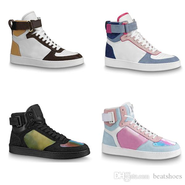 Hombres Rivoli Sneaker Boot High Top Trainers boot rainbow Low-top Shoes Zapatos casuales al aire libre 100% cuero genuino Zapatos de piel de becerro transpirables