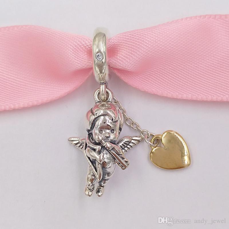 Autentico 925 perline in argento sterling 925 Cupido You Charm, Pandora Shine, Clear CZ Charms Adatto a Bracciali europei Bracciali per gioielli in stile Pandora