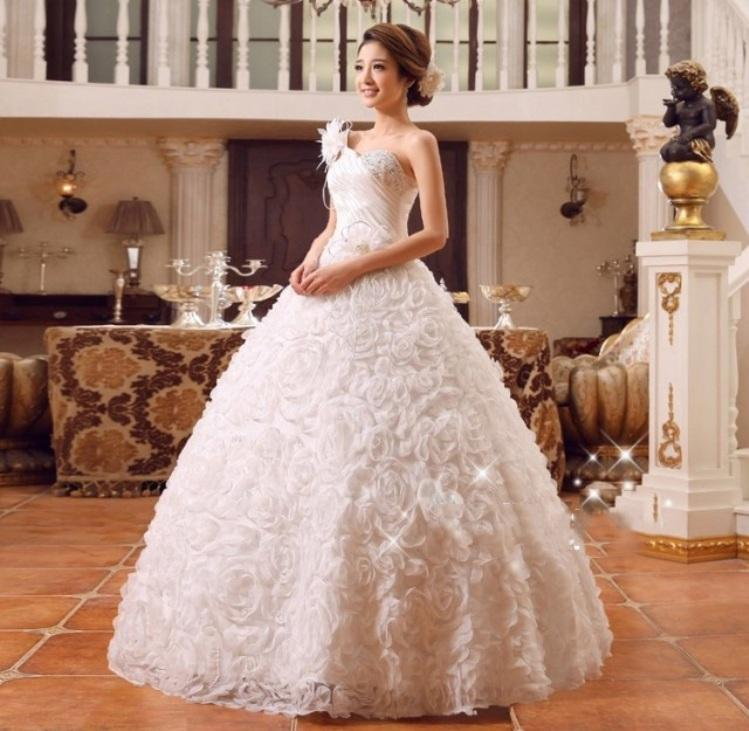 One-shoulder Wedding dress New Korean style wedding dress Plus Size