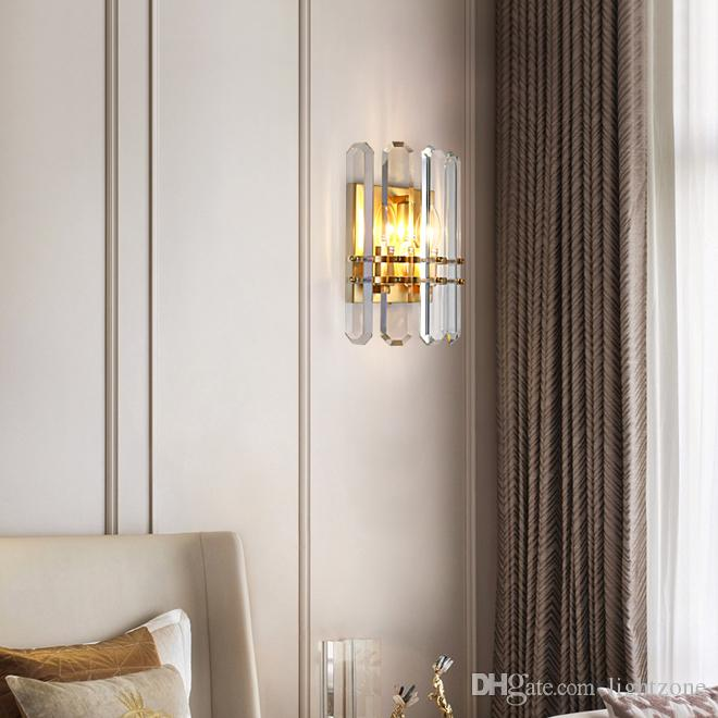 Contemporary luxury copper sconce wall lighting crystal led wall lamps modern wall sconce lights for living room bedroom bedside porch