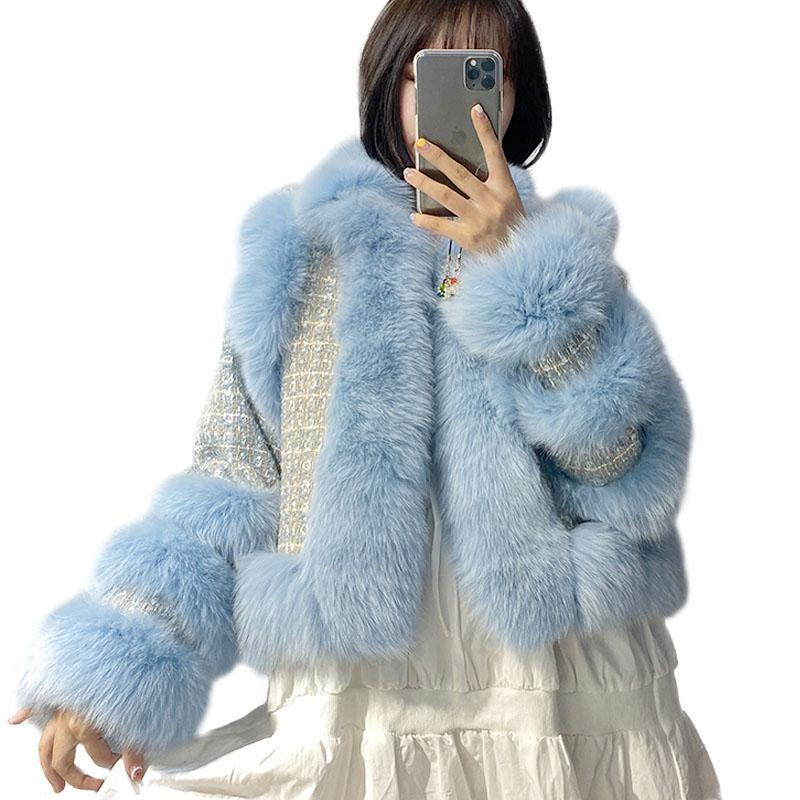 New Arrival Women Luxury Real Fur Coat Winter Natural Fur Cuffs Jacket Top Quality Ladies Wool Knitted Outerwear