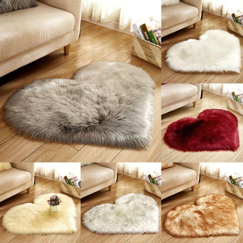 Fluffy Heart Shaped Tapis Shaggy Tapis de sol souple en fausse fourrure Accueil Chambre Poilu Tapis