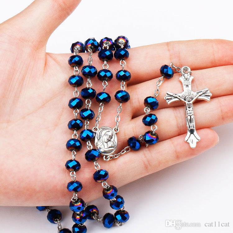 6x8mm Perle di cristallo blu Rosario Collana cattolica con medaglia di suolo santo Crocifisso Preghiera Religiosa Croce gioielli