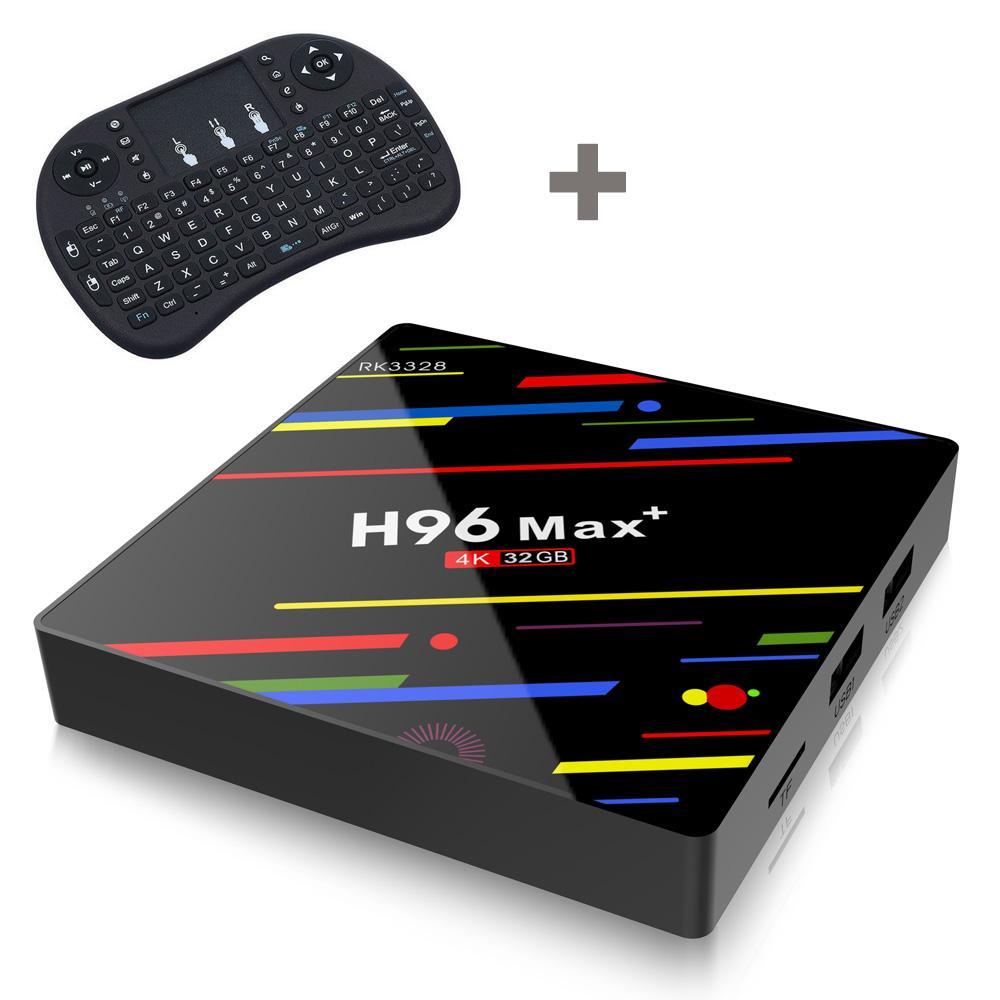 ماكس h96 + RK3328 4GB 64GB الروبوت 8.1 TV صندوق H96 ماكس بالإضافة إلى 4K 2.4G / 5G المزدوج واي فاي BT4.0 ميديا بلاير