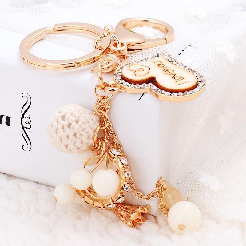 Amour Keychain Coeur Sacs clés Sac à main Pendentif chaîne Voitures chaussures anneau porteur Porte-acrylique perle Anneaux clé Party Favor GGA2774
