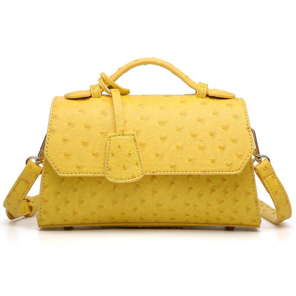 Мода желтого леди сцепление сумка Крест тело сумка страус кожаные сумки Женщина Ручной