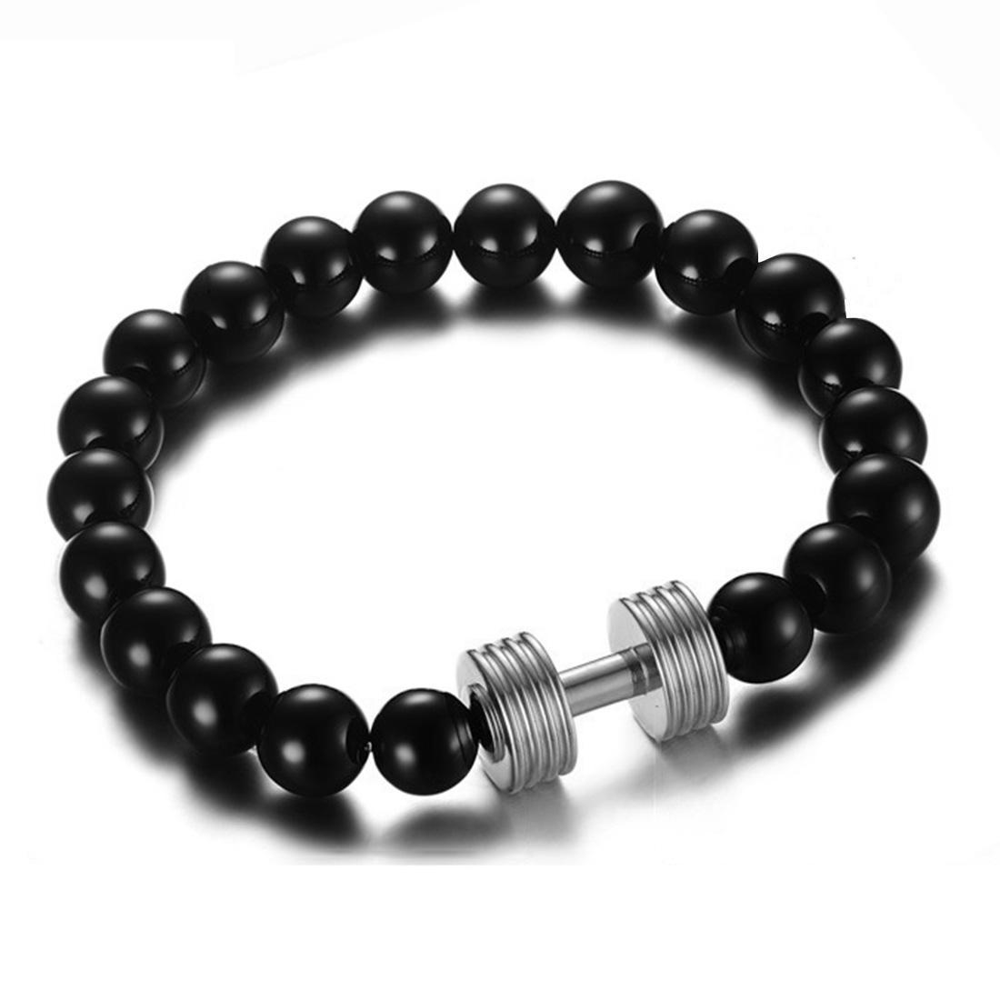 Mens Womens Schwarz Achat Perlen Armband Barbell Charm Elastic Armband Gym Schmuck Gold