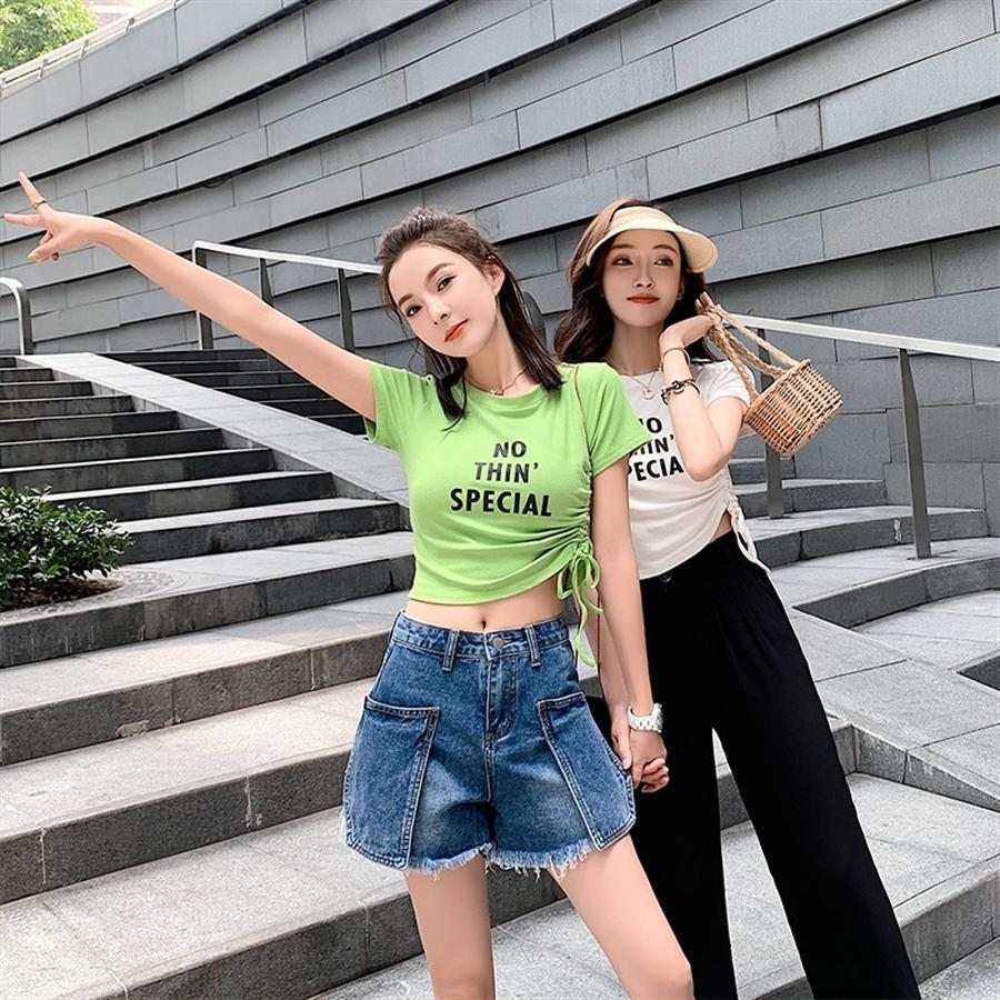 2020 Kordelzug Ärmel Rundkragen T-Shirt weibliche Kurz 2020 kurze Ärmel Rundkragen T-Shirt weiblichen Tunnelzug