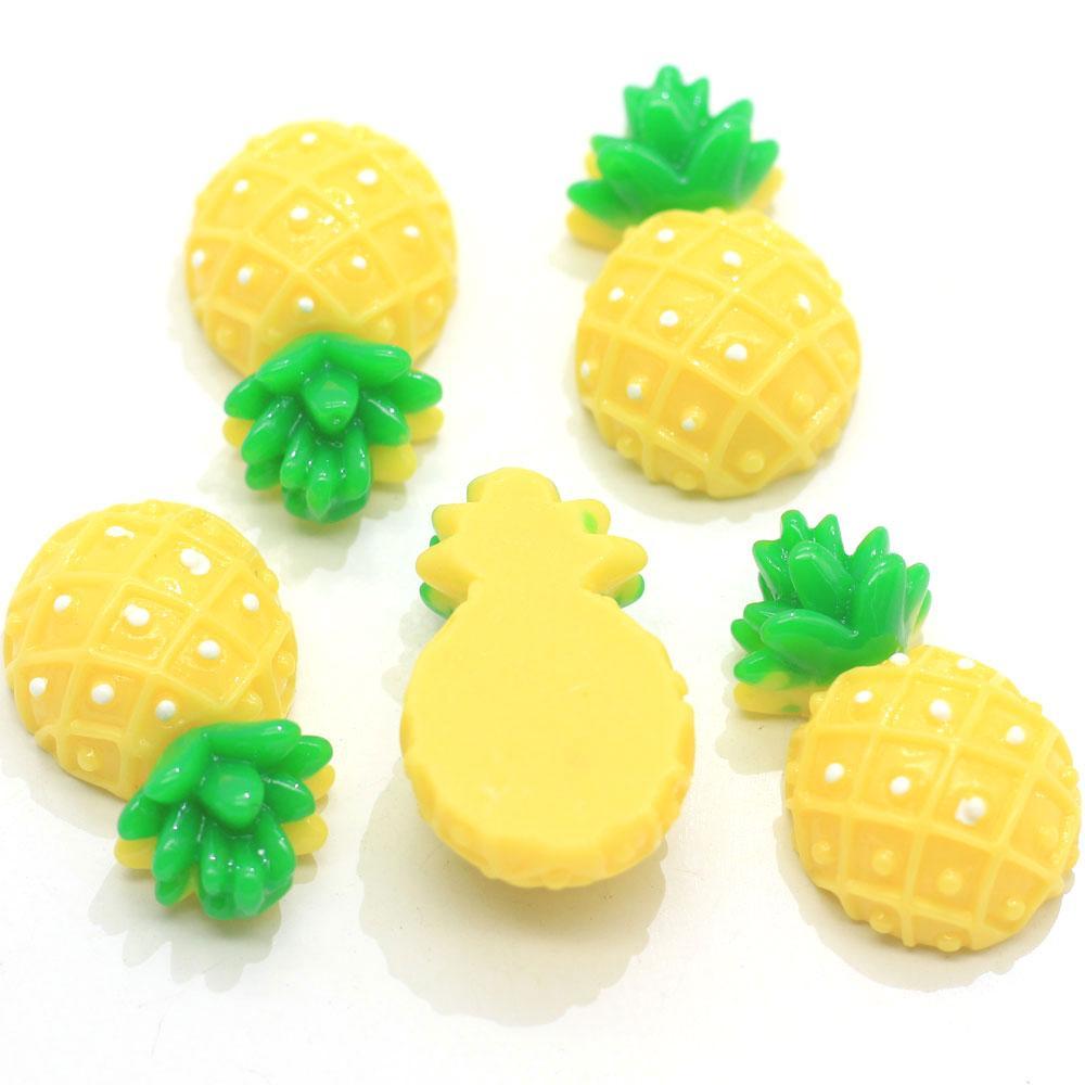 Charms resina di buona qualità Giallo Ananas Cabochons Flatback di frutta Ananas Slime artigianali per capelli arco che fa