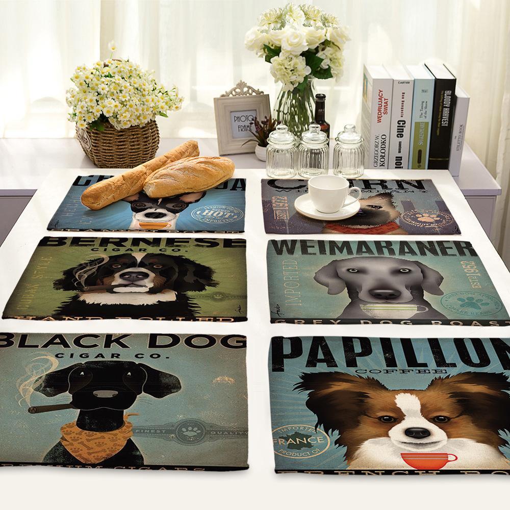 Série Dog Cartoon animaux nordique impression napperon coton linon Arts de la table Isolation Pad Coaster Table à manger Décoration T200703