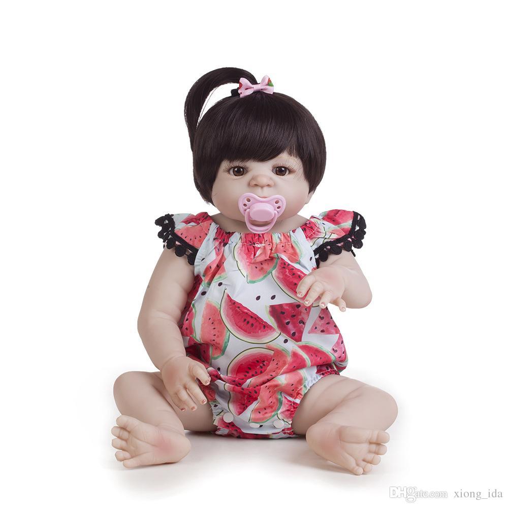 22 Inch 55cm Reborn dolls full silicone reborn baby girl dolls Girls Bath Lifelike Real Vinyl Bebe Brinquedos Reborn Bonecas