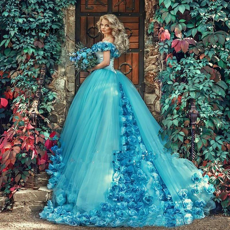Handmade Flowers Off the Shoulder Quinceanera Dresses Blue Masquerade Party Gown Sweep Train Prom Gowns Princess Sweet 16